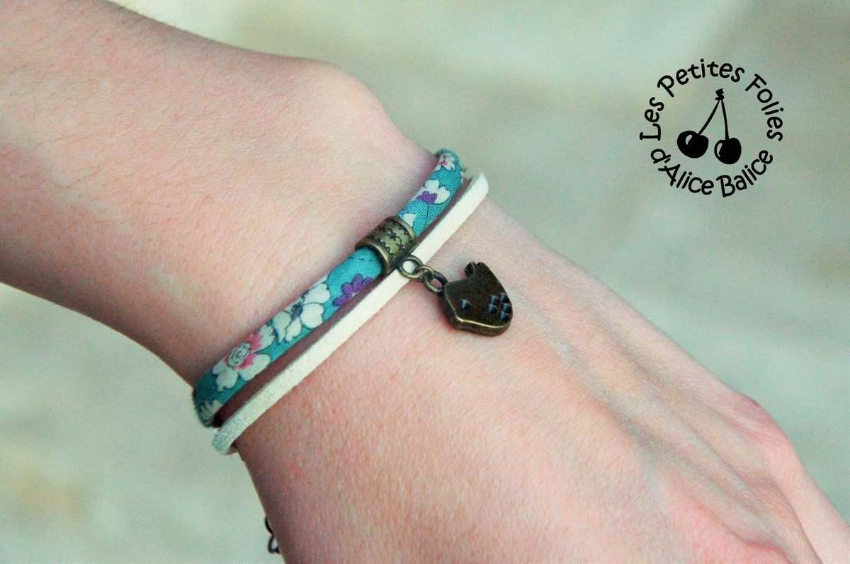 Bijoux | DIY | oiseaux | bracelet | Liberty | suédine