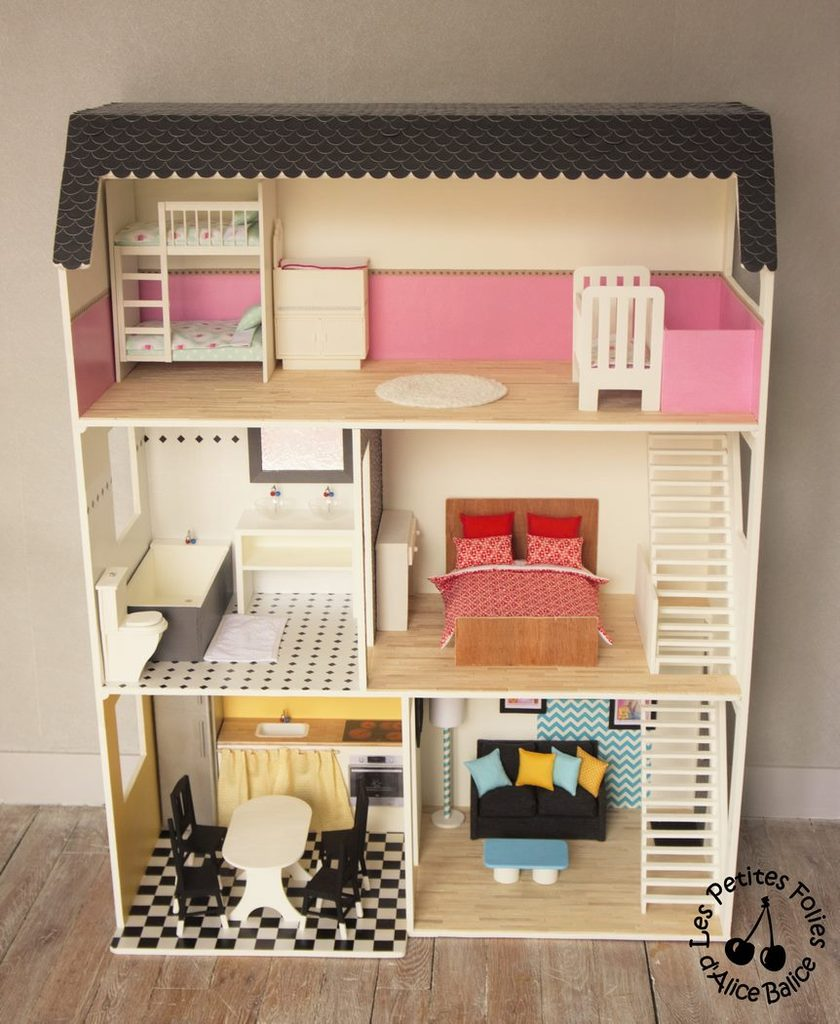 maison de barbie 6 les meubles chambres et salle de bain alice balice couture et diy. Black Bedroom Furniture Sets. Home Design Ideas