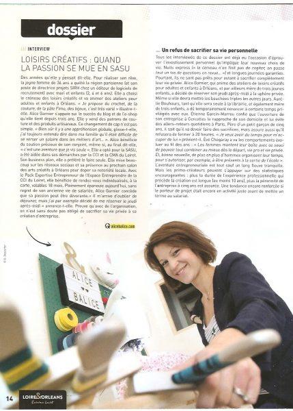 alice balice | publication presse | acteurs de l'écho loiret | revue de presse | reconversion