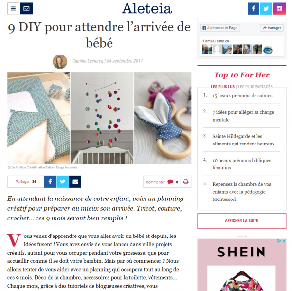 alice balice | publication presse | aleteia for her | revue de presse | mobile bébé en papier | color pop | arc en ciel | tuto diy gratuit