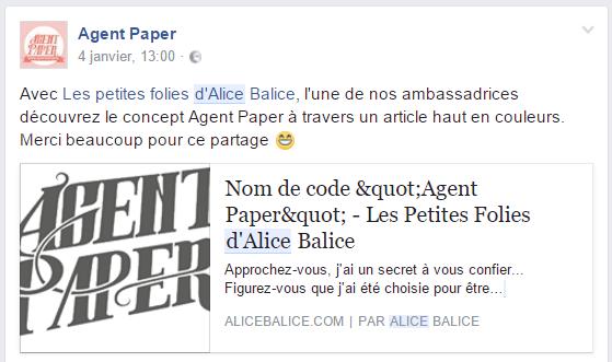 Alice Balice | Revue de presse | Ambassadrice | Agent Paper