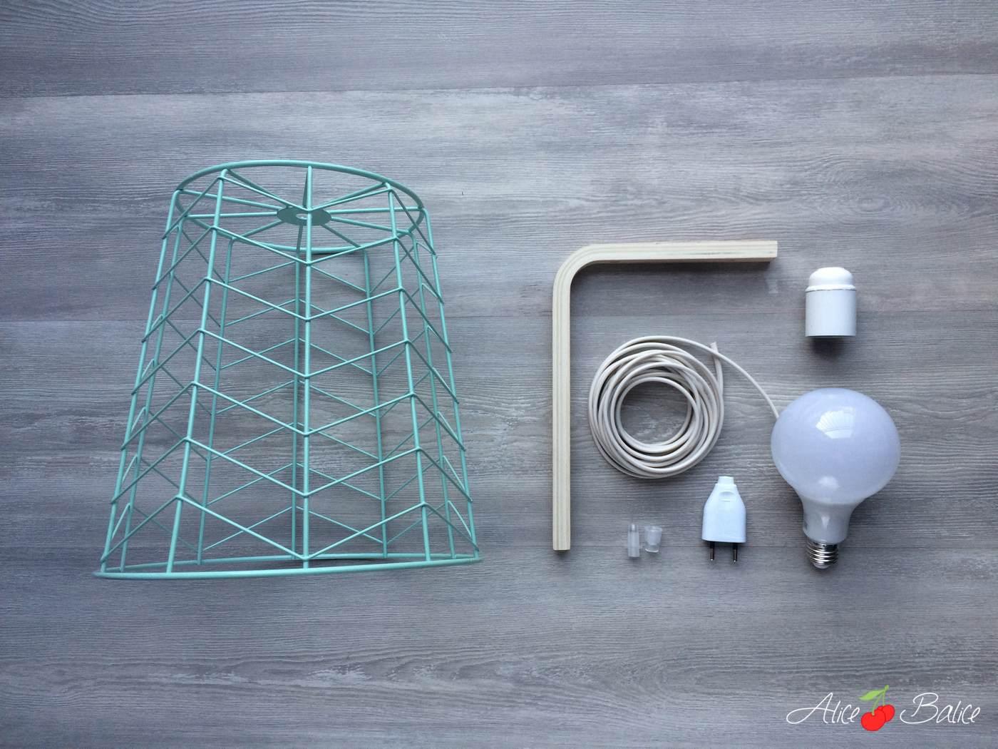 Lampe baladeuse design | tuto DIY gratuit | corbeille à papier | mint cuivre