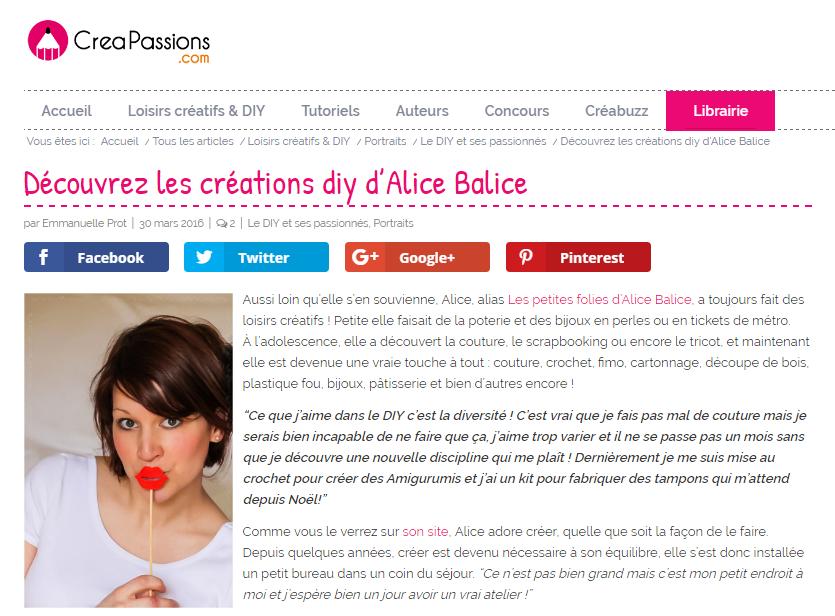 Alice Balice | Revue de presse | Portrait Creapassions