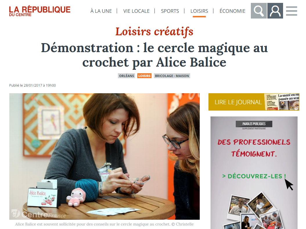 Alice Balice | Revue de presse | La République du centre | Démo cercle magique | crochet