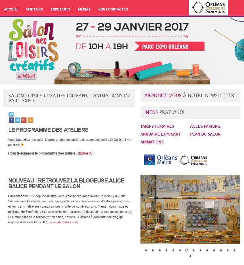 Alice Balice | Revue de presse | Salon des loisirs créatifs d'Orléans