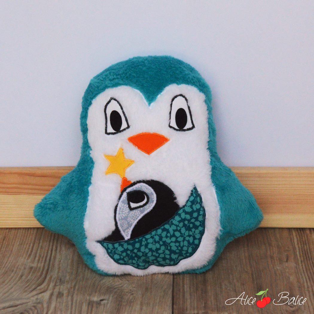 peluche pingouin | créenfantin | doudou | jouet | puériculture | couture