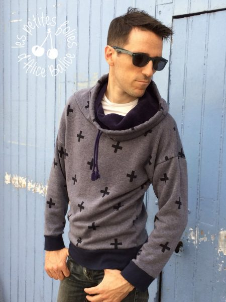 alice balice | sweat homme | patron couture gratuit | free sewing pattern | tissu molleton | vetement homme