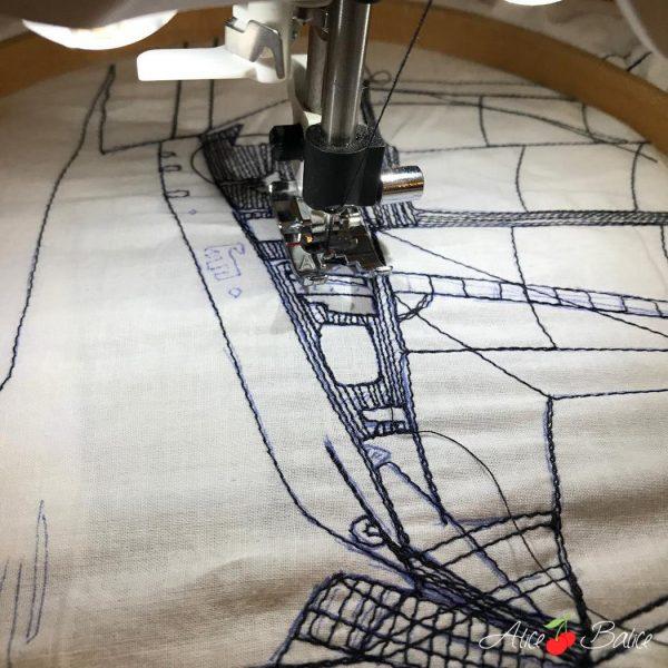 alice balice | dessin à la machine à coudre | bateau voilier | licorne | marin | navigateur