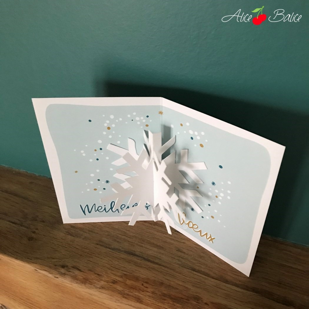 alice balice | test produit | agent paper | decoration | carte pop-up flocon | bonne année