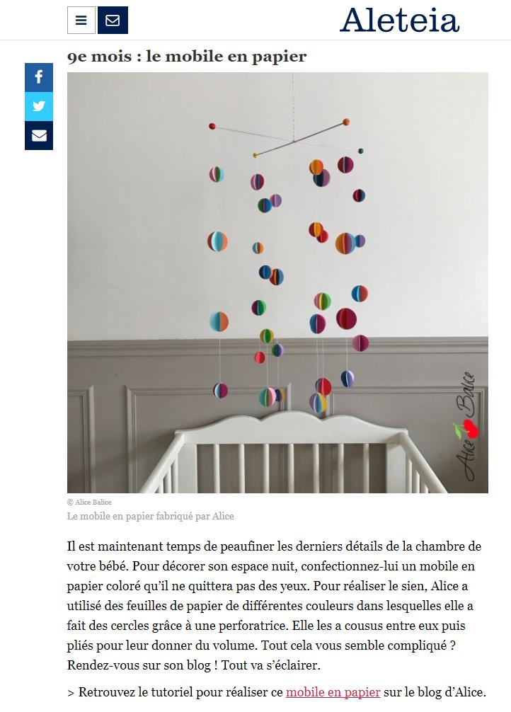 alice balice | revue de presse | aleteia | article trousseau de naissance | grossesse | bébé | mobile en papier | tuto